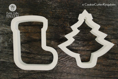 2 Piece Christmas Stocking Cookie Cutter Set