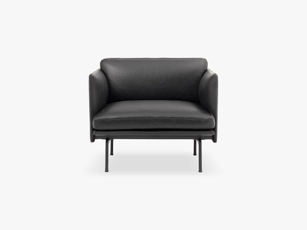 Outline Chair, Silk Leather - Black fra Muuto
