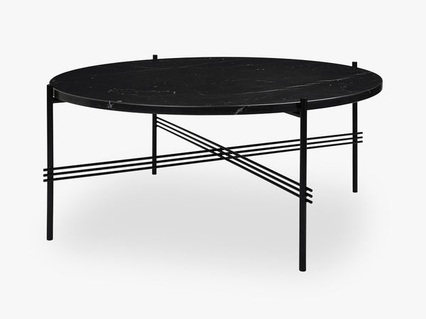 TS Coffee Table - Dia 80 Black base, Marble black top fra GUBI