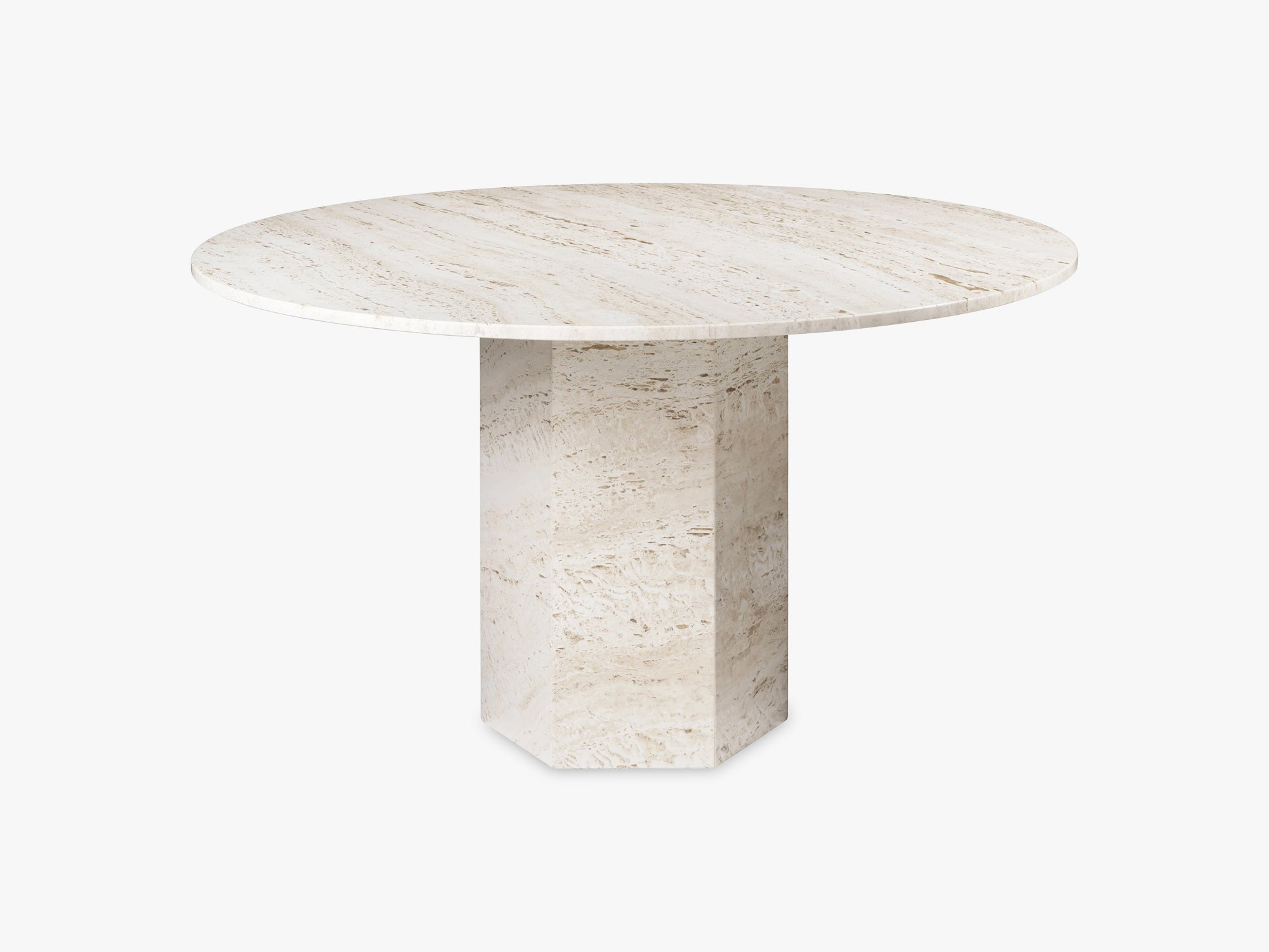 Epic Dining Table - White Travertine, Ø130 fra GUBI