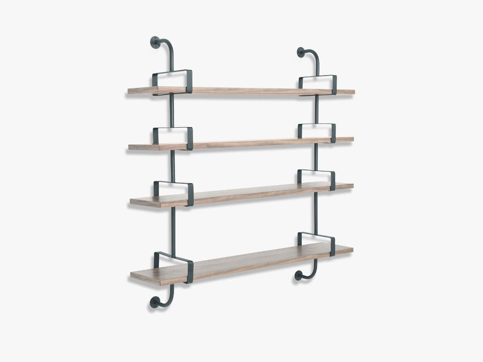 Démon Shelf - 2 Brackets - 155 cm 4 shelves, Walnut shell fra GUBI