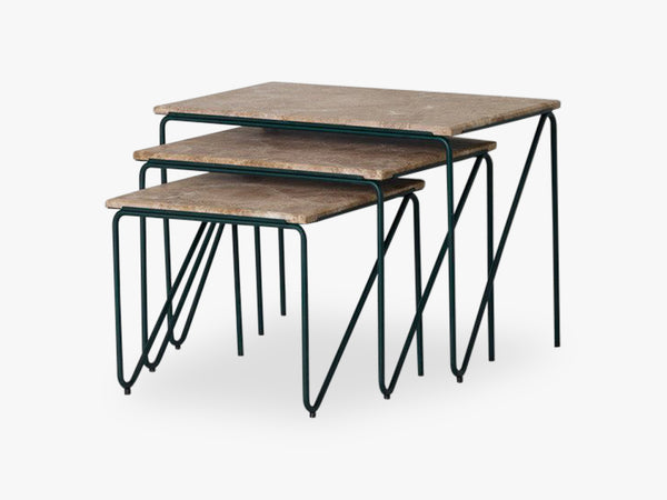 Triptych Nesting Table, MONACO BROWN MARBLE ON CEDAR GREEN STEEL FRAME fra Please Wait To Be Seated