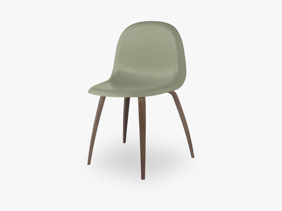 3D Dining Chair - Un-upholstered American Walnut base, Mistletoe Green shell fra GUBI
