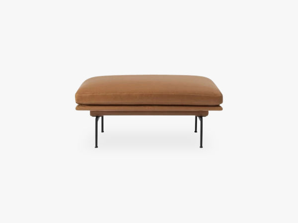 Outline Pouf, Silk Leather - Cognac fra Muuto