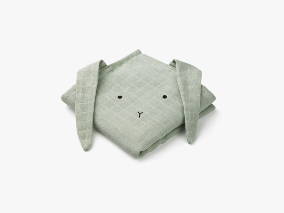 Hannah Muslin Cloth 2 Pack Rabbit Solid, Mint fra Liewood