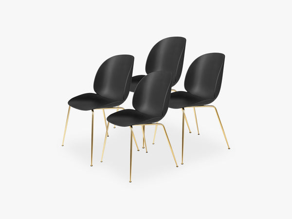 Beetle Dining Chair 4 pcs - Conic Brass Semi Matt Base, Black fra GUBI
