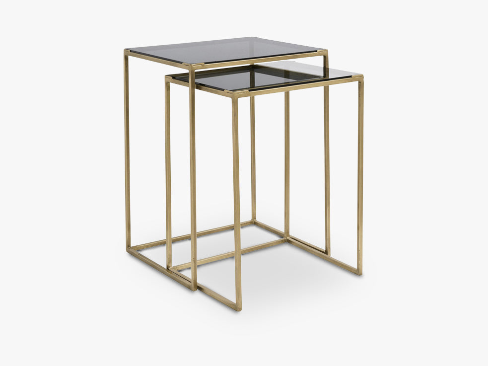 Coffee tables, two-in-one, brass, black fra Nordal