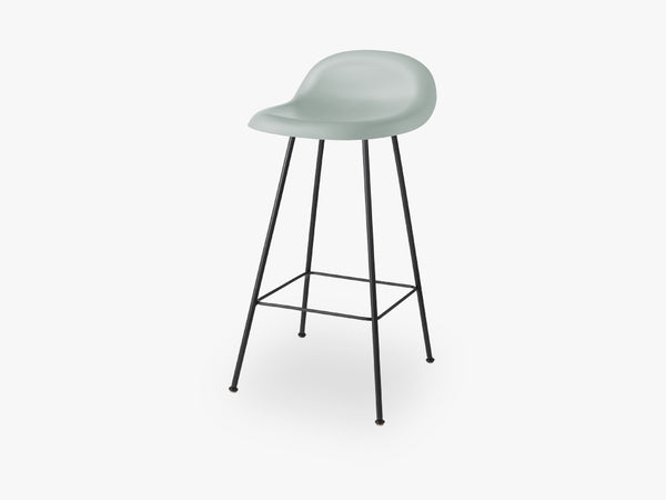 3D Counter Stool - Un-upholstered - 65 cm Center Black base, Nightfall Blue shell fra GUBI