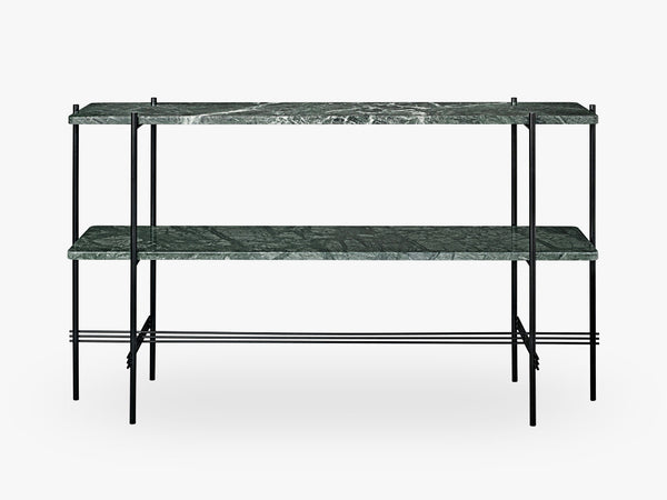 TS Console - 2 rack Black base, Marble green top fra GUBI