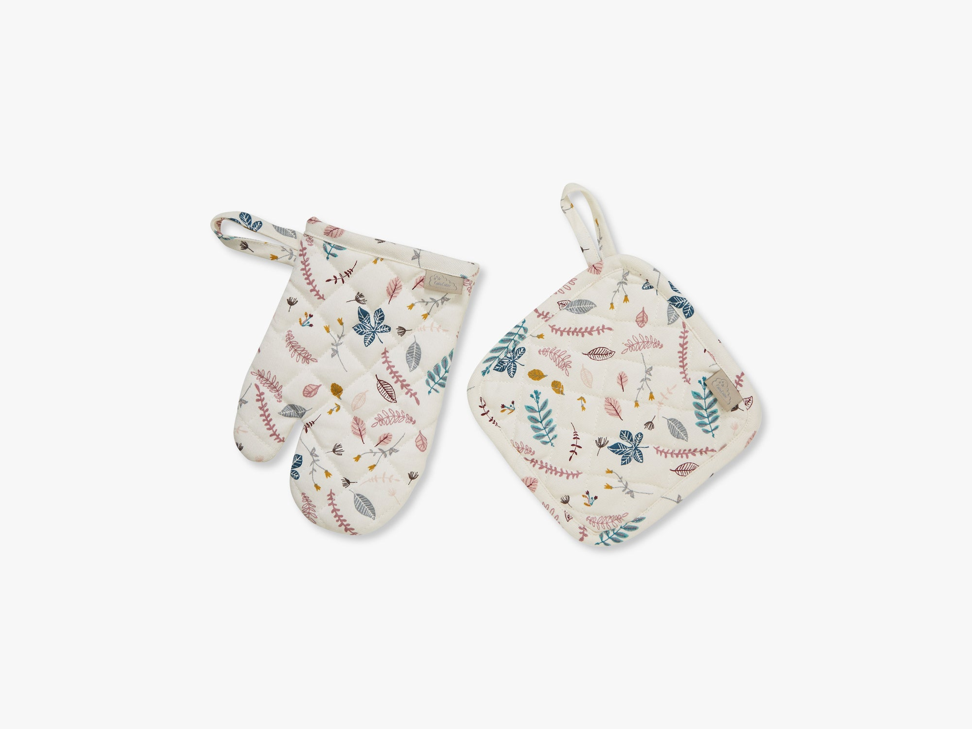 Kids Oven Glove and Pot Holder Play set, Pressed Leaves Rose fra Cam Cam Copenhagen