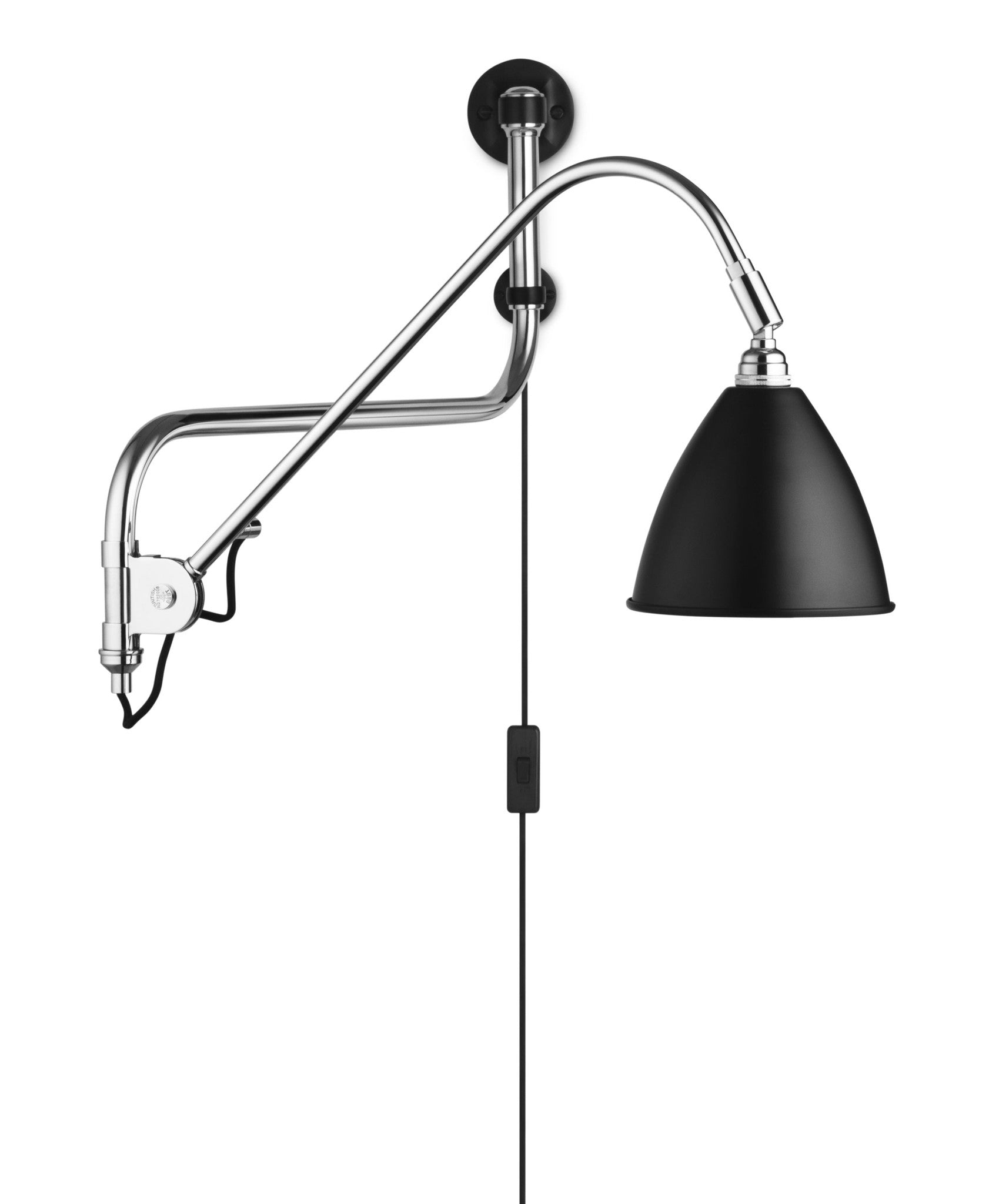 Bestlite BL10 Wall Lamp - Ø16 - Crome Base, Black fra GUBI