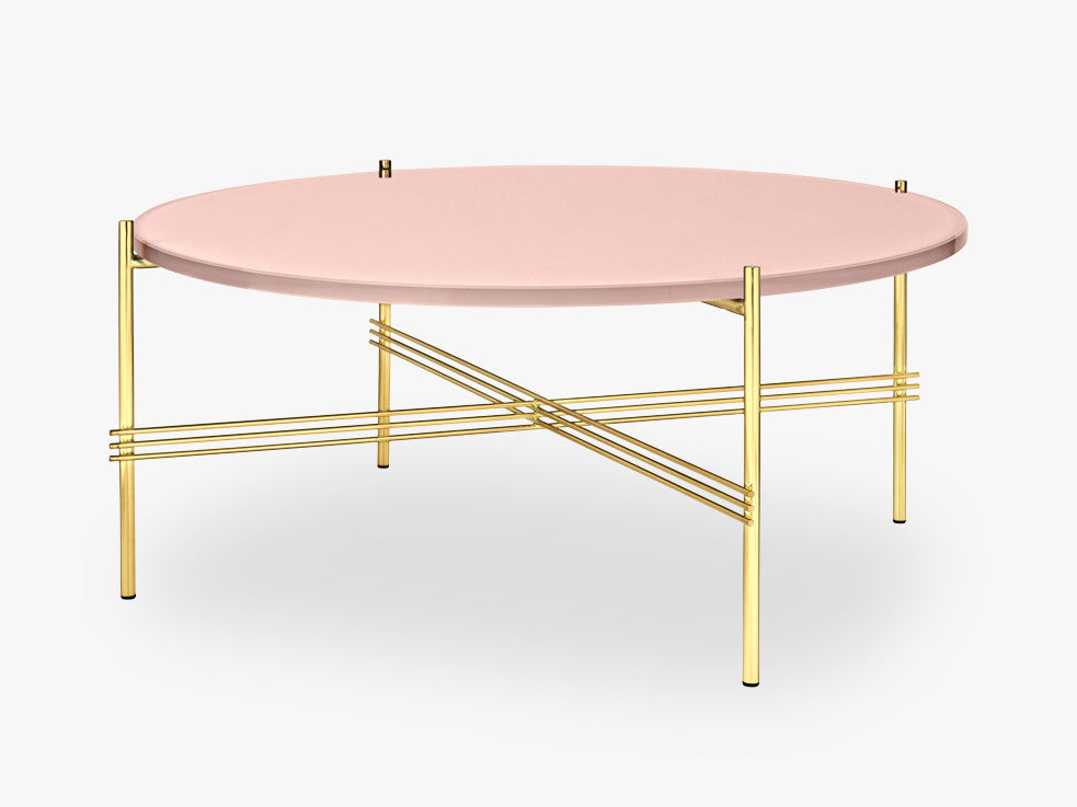 TS Coffee Table - Dia 80 Brass base, glass vintage red top fra GUBI