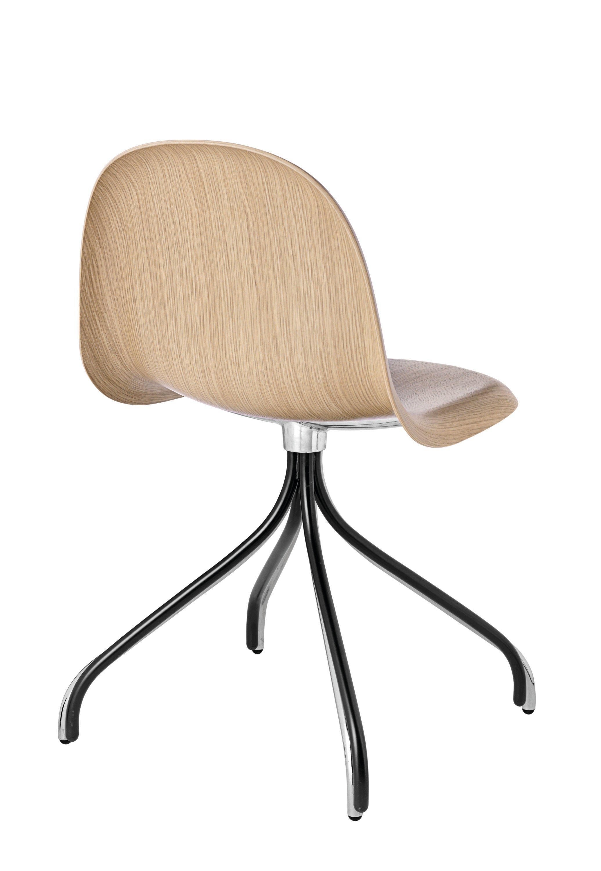 3D Dining Chair - Un-upholstered Swivel Black base, Oak shell fra GUBI
