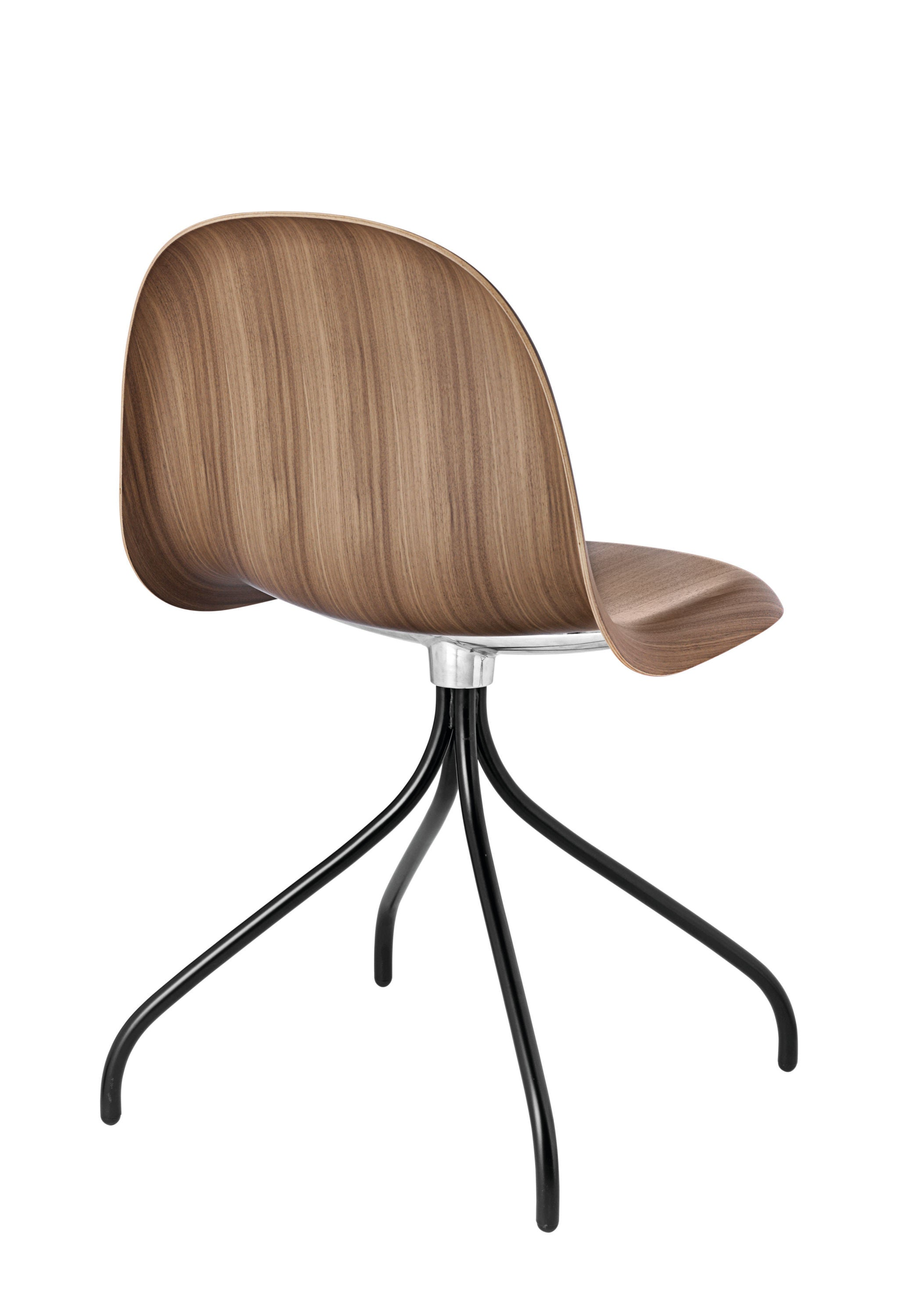 3D Dining Chair - Un-upholstered Swivel Black base, American Walnut shell fra GUBI