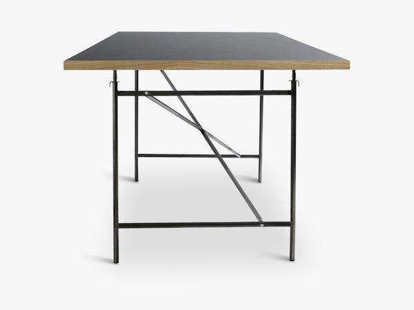 Linoleum Table Top, Black (Nero) with Oak Edges fra Egon Eiermann