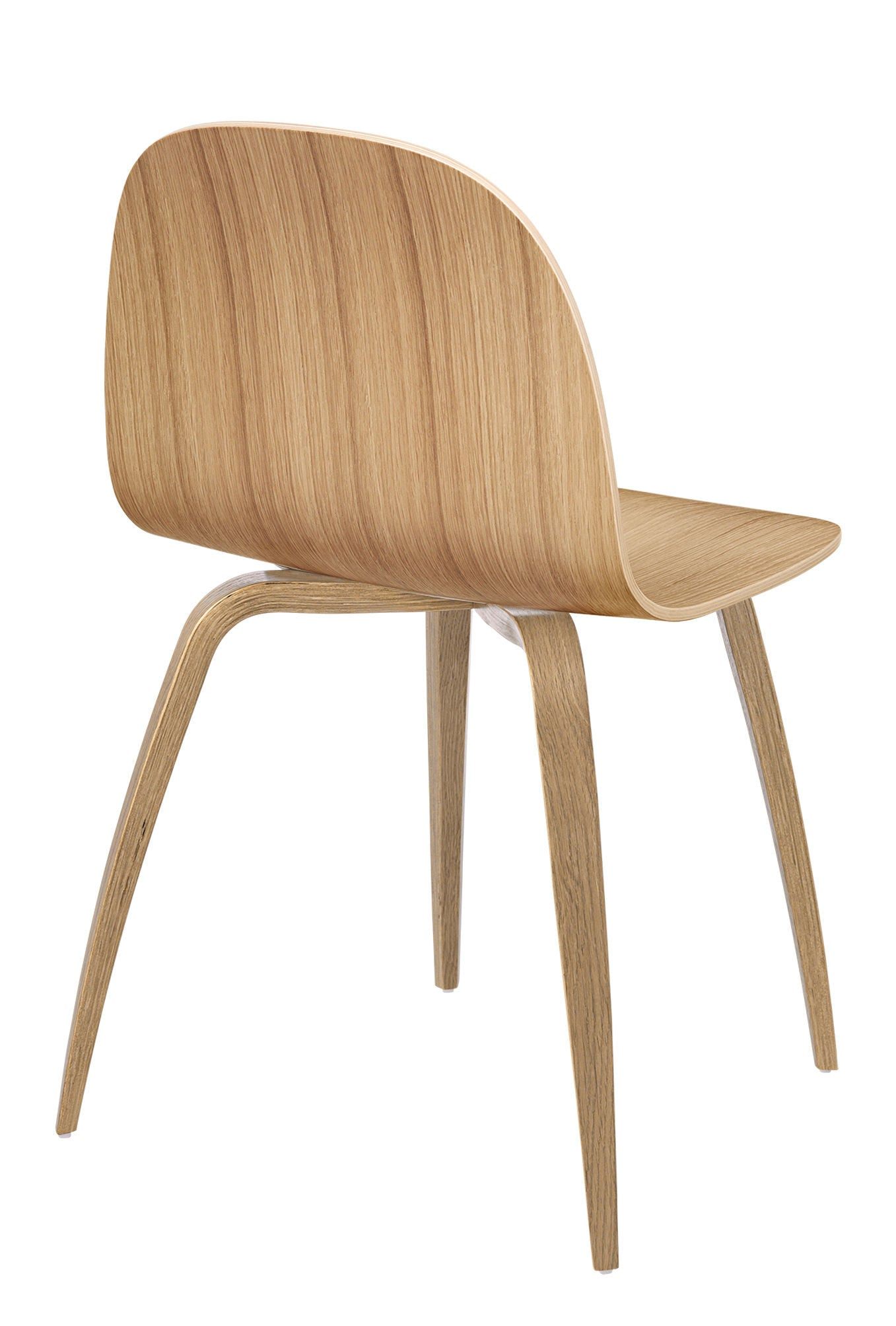 2D Dining Chair - Un-upholstered Oak base, Oak shell fra GUBI