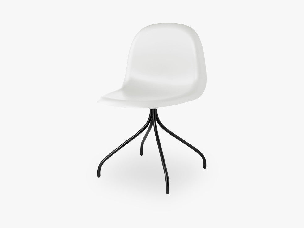 3D Dining Chair - Un-upholstered Swivel Black base, White Cloud shell fra GUBI