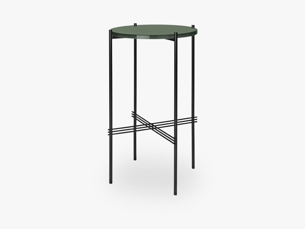 TS Console - Round - Dia 40 Black base, Glass bottle green top fra GUBI