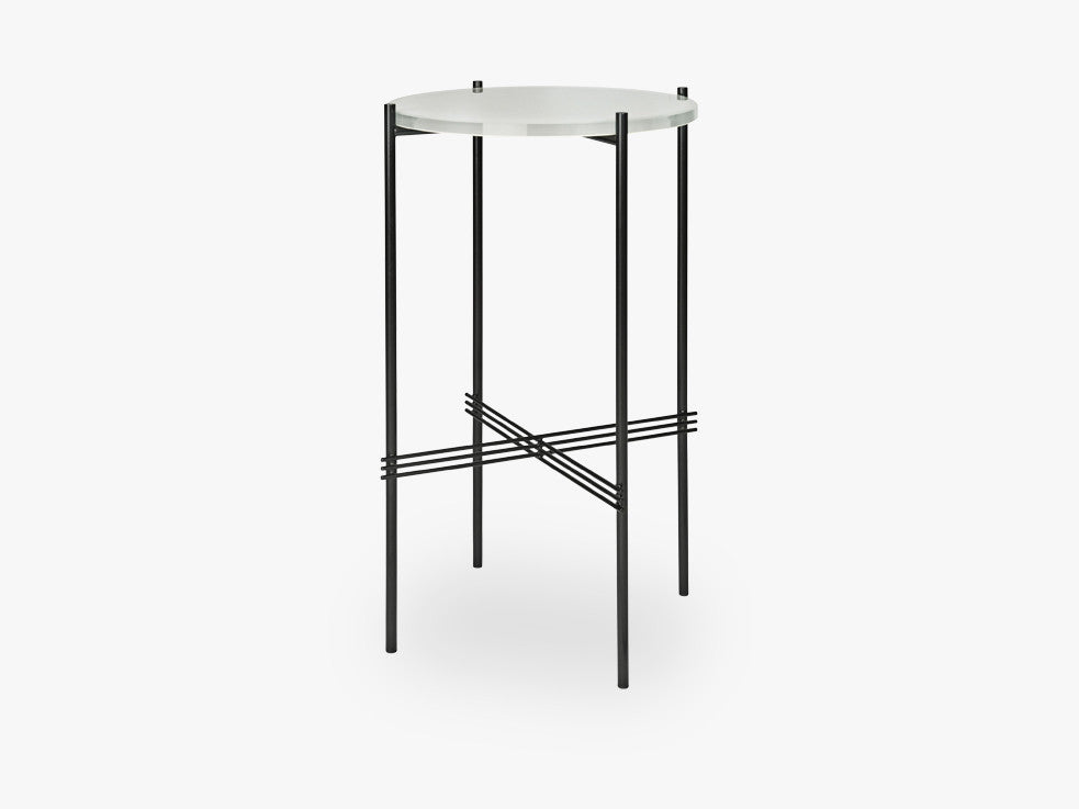 TS Console - Round - Dia 40 Black base, glass oyster white top fra GUBI