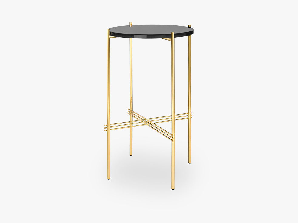 TS Console - Round - Dia 40 Brass base, glass Graphite Black top fra GUBI