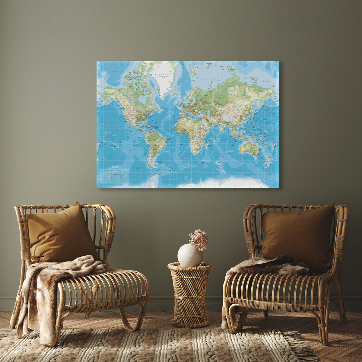 Worldmap Canvas, H84, Classic Blue fra Incado