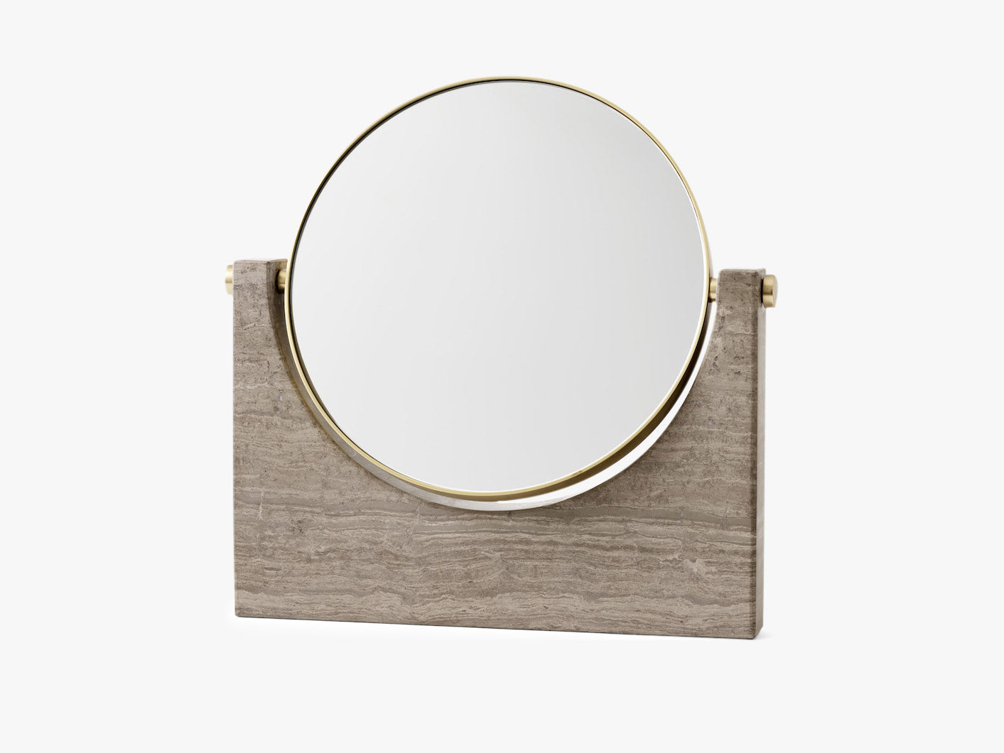 Pepe Marble Mirror, Brass/Honed Brown fra Menu