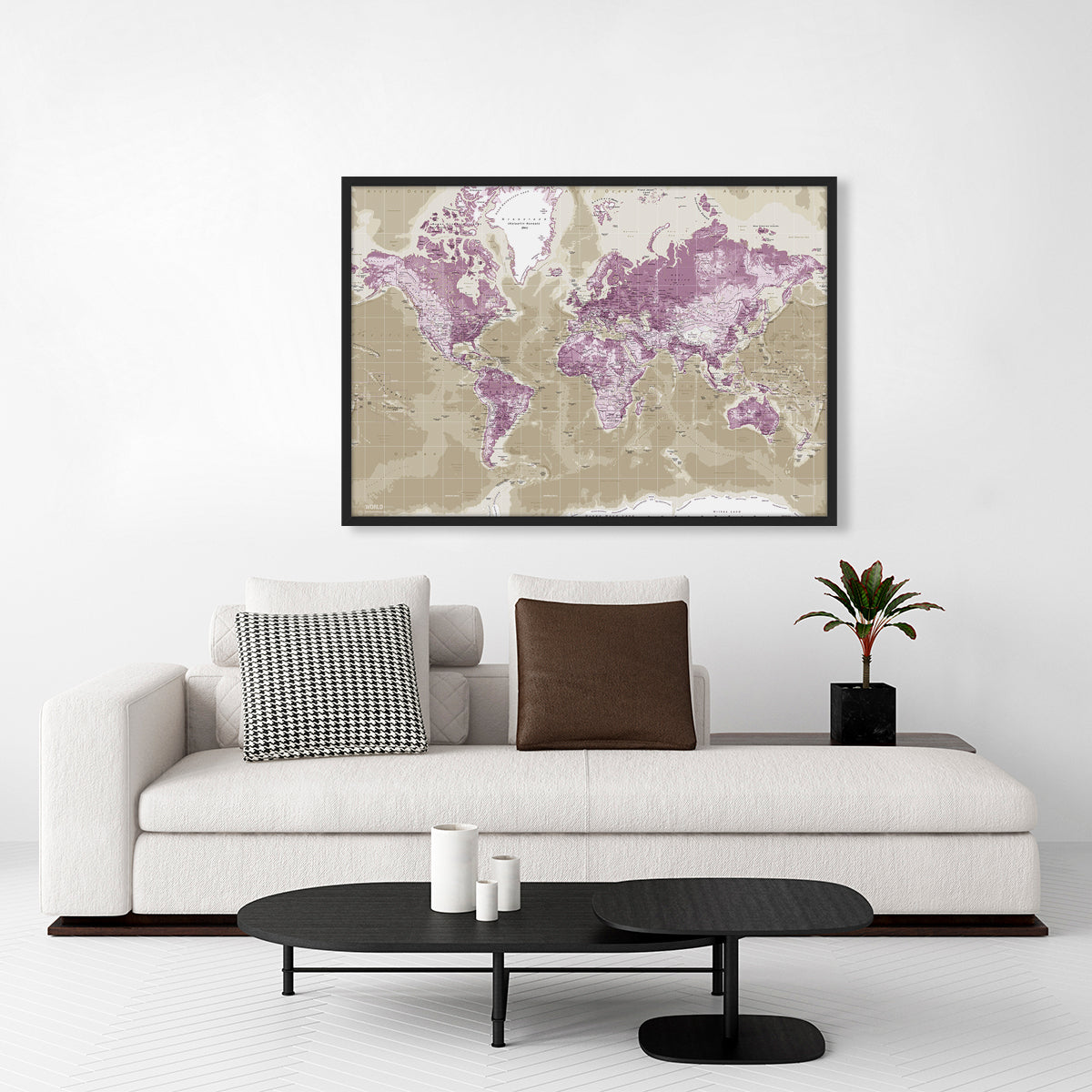 Worldmap Pin Board, H115, Purple fra Incado