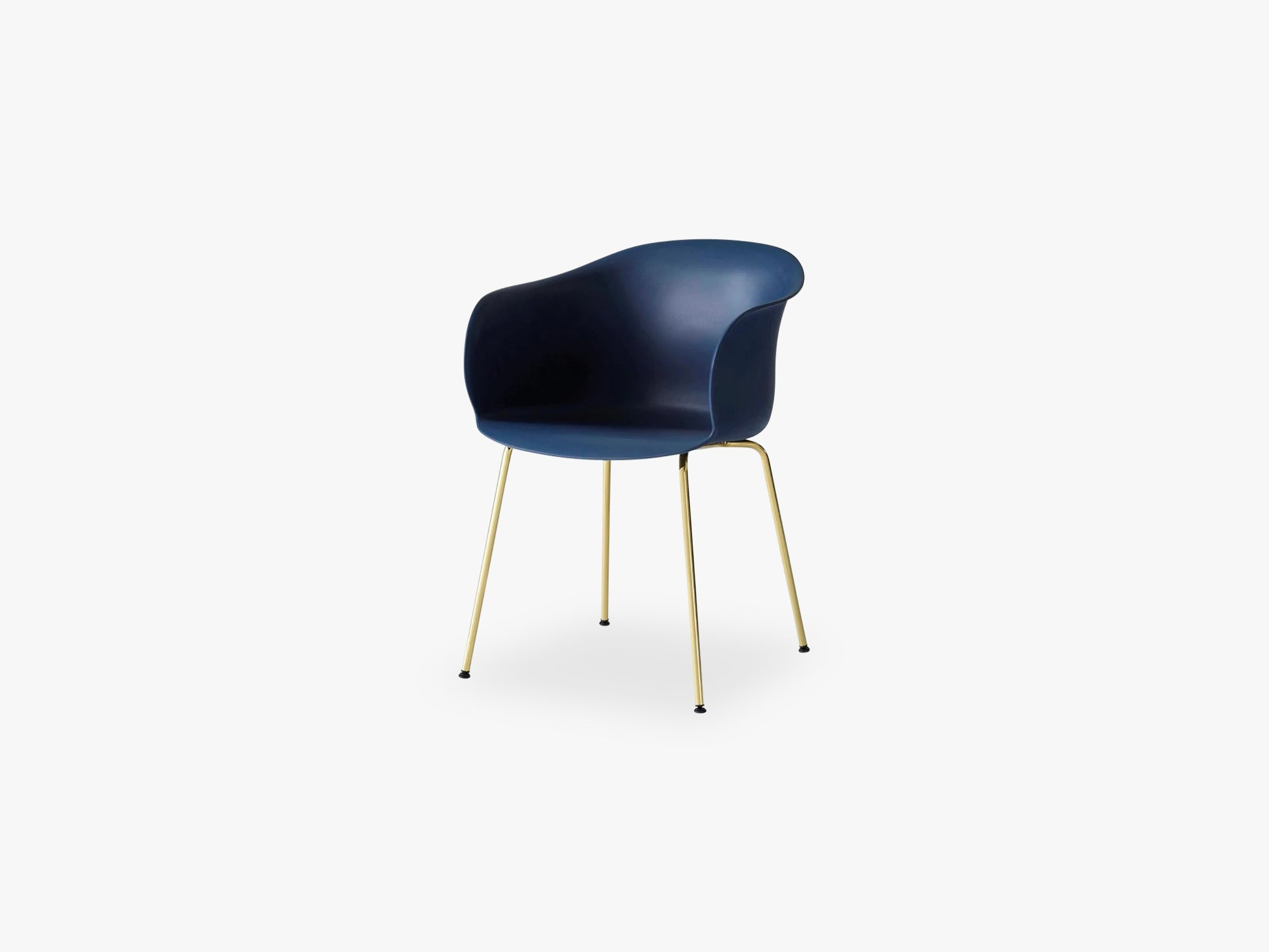 Elefy Chair JH28 Midnight Blue, Brass tube base fra &tradition