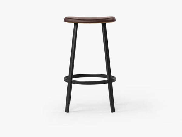 Anno Stool H75, Black/Burgundy Red Leather fra MILLION