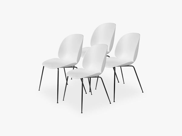 Beetle Dining Chair 4 pcs - Conic Black Matt Base, Pure White fra GUBI