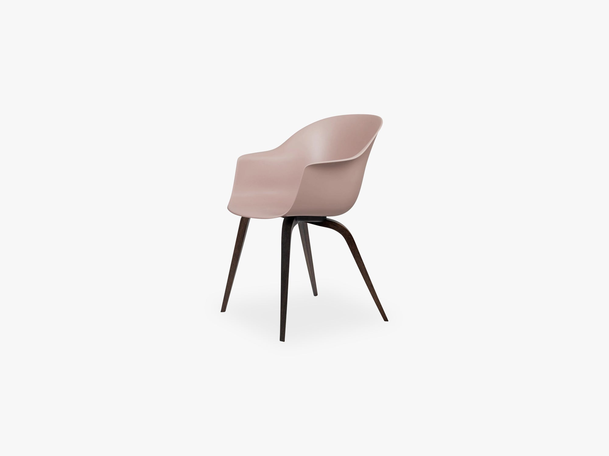 Bat Dining Chair - Skal m Wood base - Smoked Oak Matt, Sweet Pink fra GUBI
