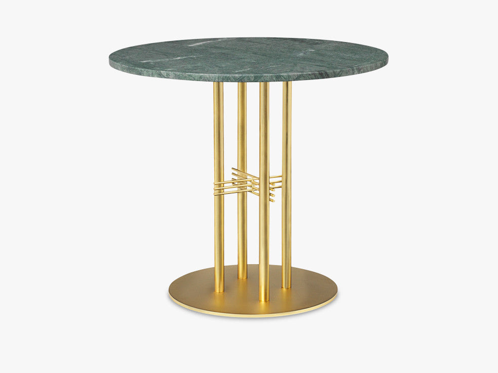 TS Column - Dining Table - Dia 80 Brass base, marble green top fra GUBI