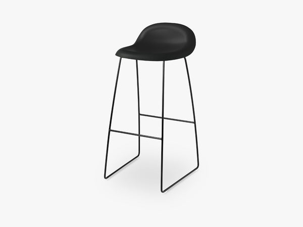 3D Bar Stool - Un-upholstered - 75 cm Sledge Black base, Midnight Black shell fra GUBI