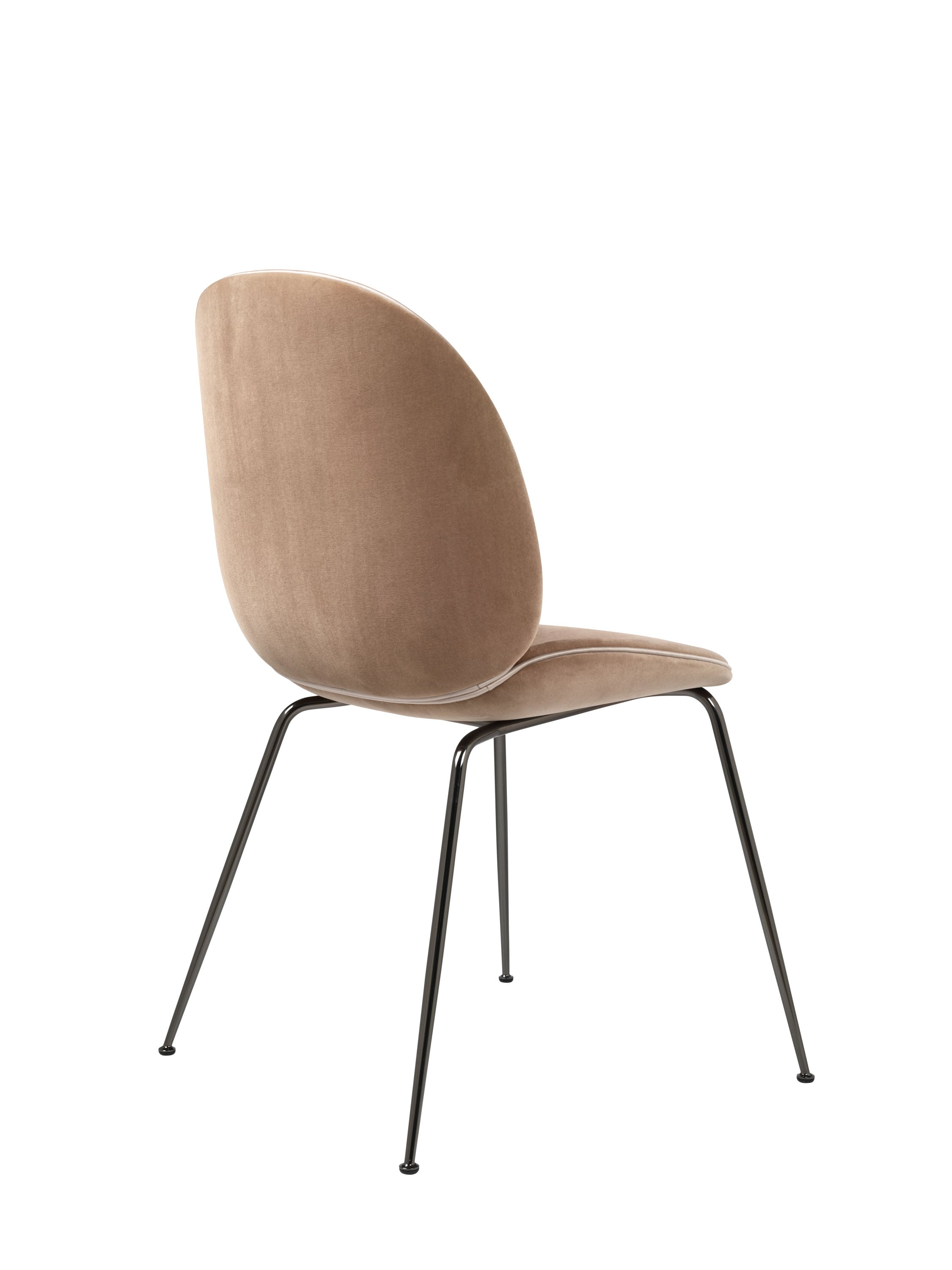 Beetle Dining Chair - Fully Upholstered - Conic Black Chrome base, L'Albero dC Velluto Cotone G075_208 Fawn Beige Piping: L'Albero dC Luce G066/18 fra GUBI