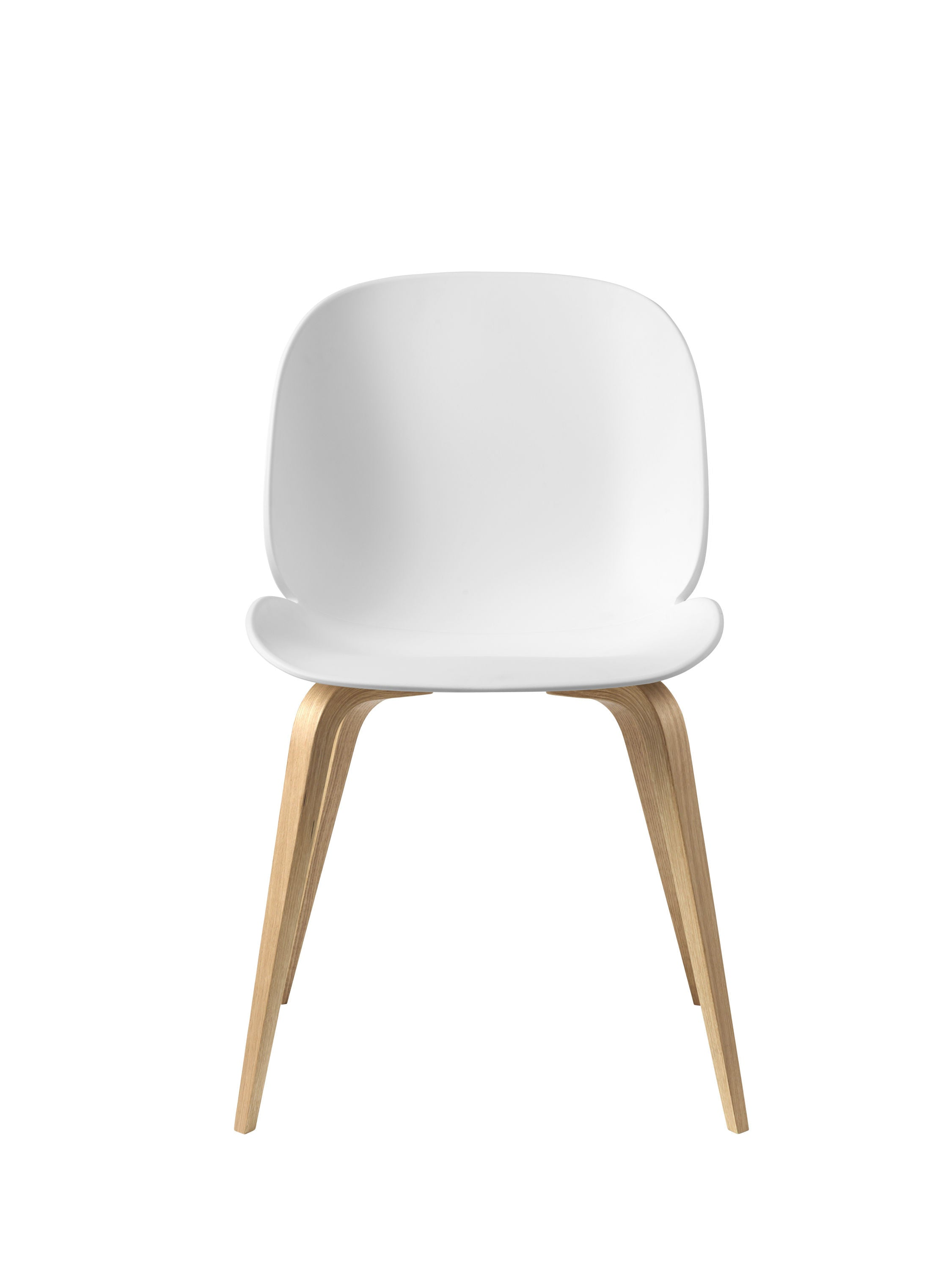 Beetle Dining Chair - Un-upholstered Oak base, White shell fra GUBI