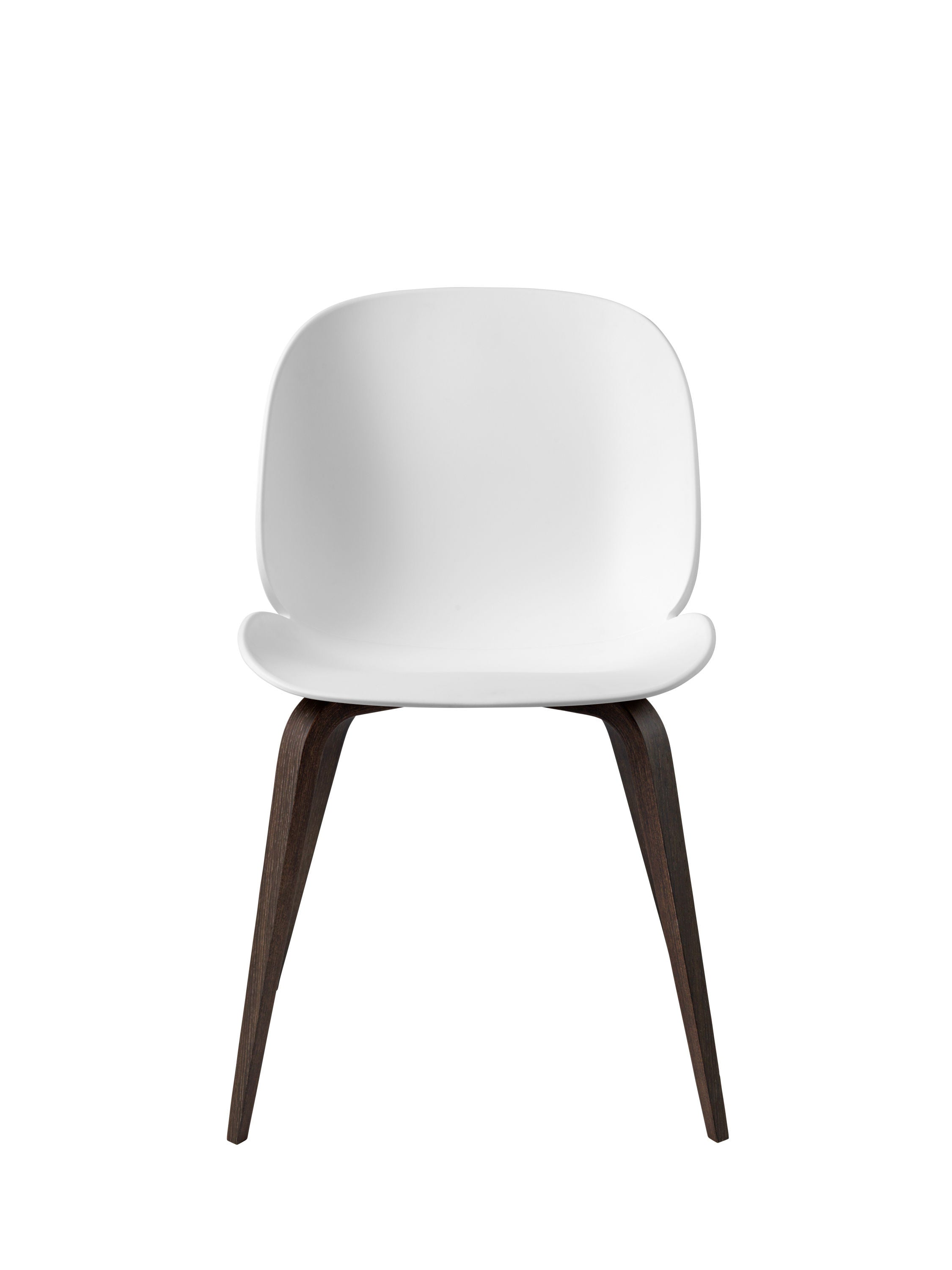 Beetle Dining Chair - Un-upholstered Smoked Oak base, White shell fra GUBI