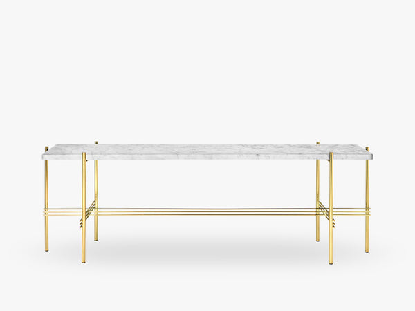 TS Console - 1 rack Brass base, marble white top fra GUBI