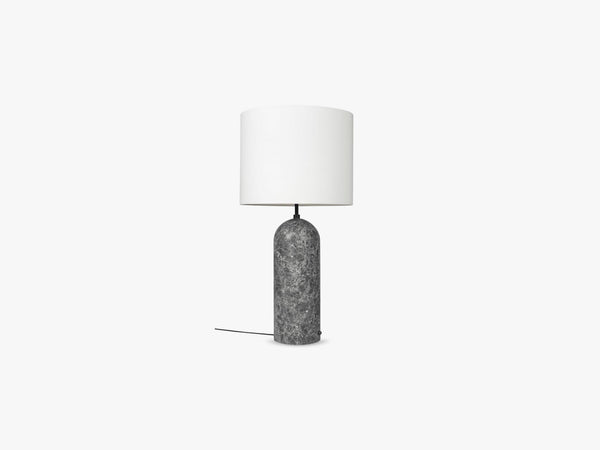 Gravity Floor Lamp - XL Low - Grey Marble base, White fra GUBI