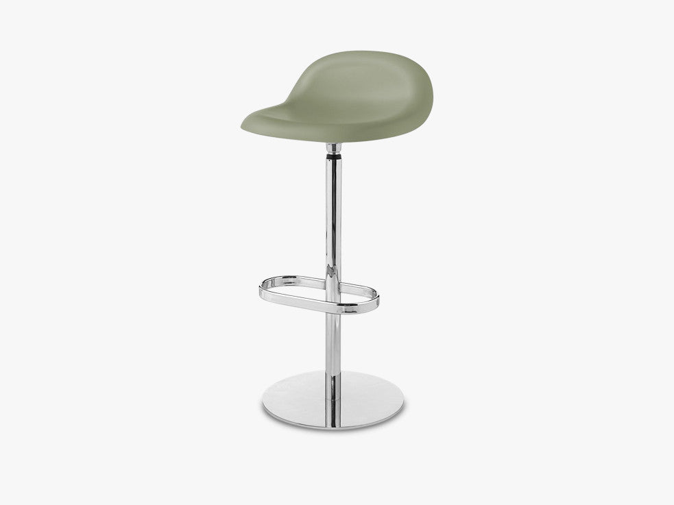 3D Bar Stool - Un-upholstered - 75 cm Swivel Chrome base, Mistletoe Green shell fra GUBI