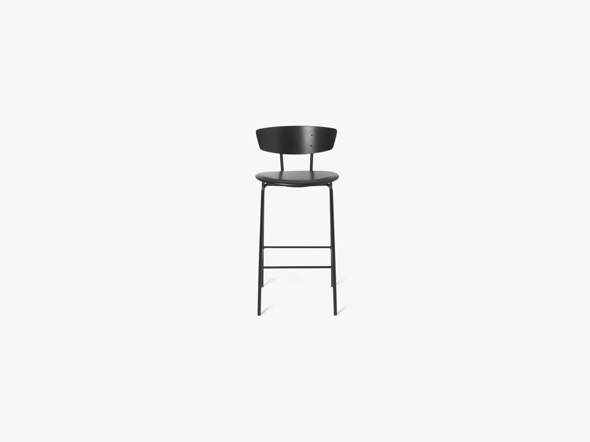 Herman Bar Chair Low, Black/Black Leather fra Ferm Living