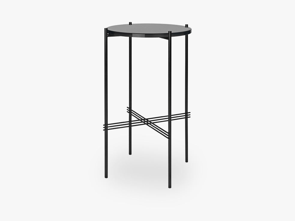 TS Console - Round - Dia 40 Black base, glass grey blue top fra GUBI