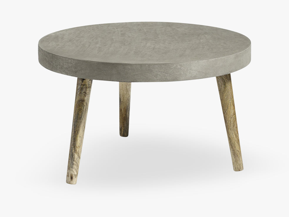 Coffee table, round, concrete/wood fra Nordal