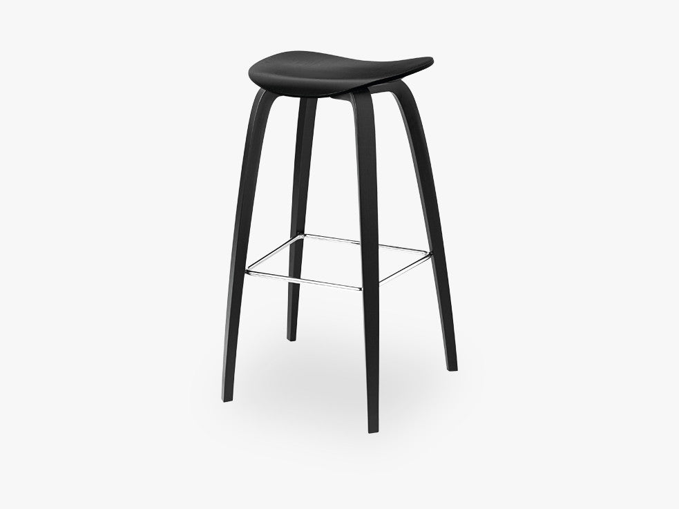 2D Bar Stool - Un-upholstered - 75 cm Black Stained Birch base, Black Stained Birch shell fra GUBI