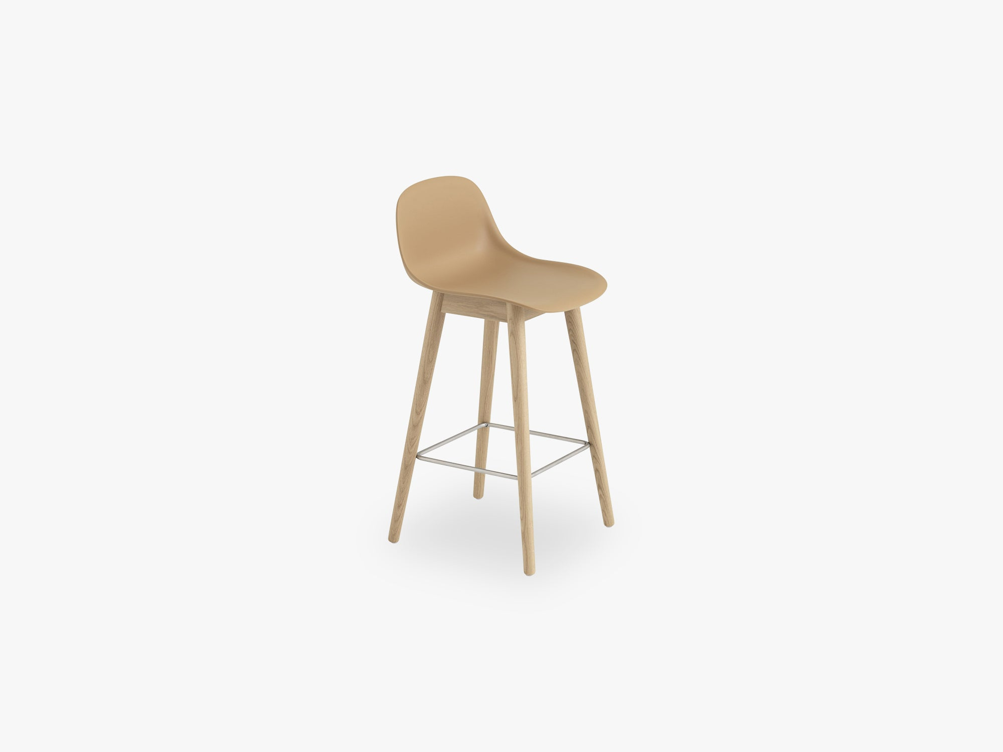 Fiber Bar Stool W Backrest - Wood Base H: 65 Cm, Ochre/Oak fra Muuto