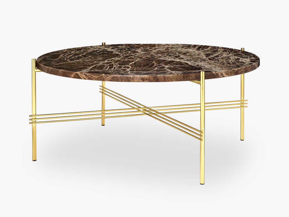 TS Coffee Table - Dia 80 Brass base, marble brown top fra GUBI