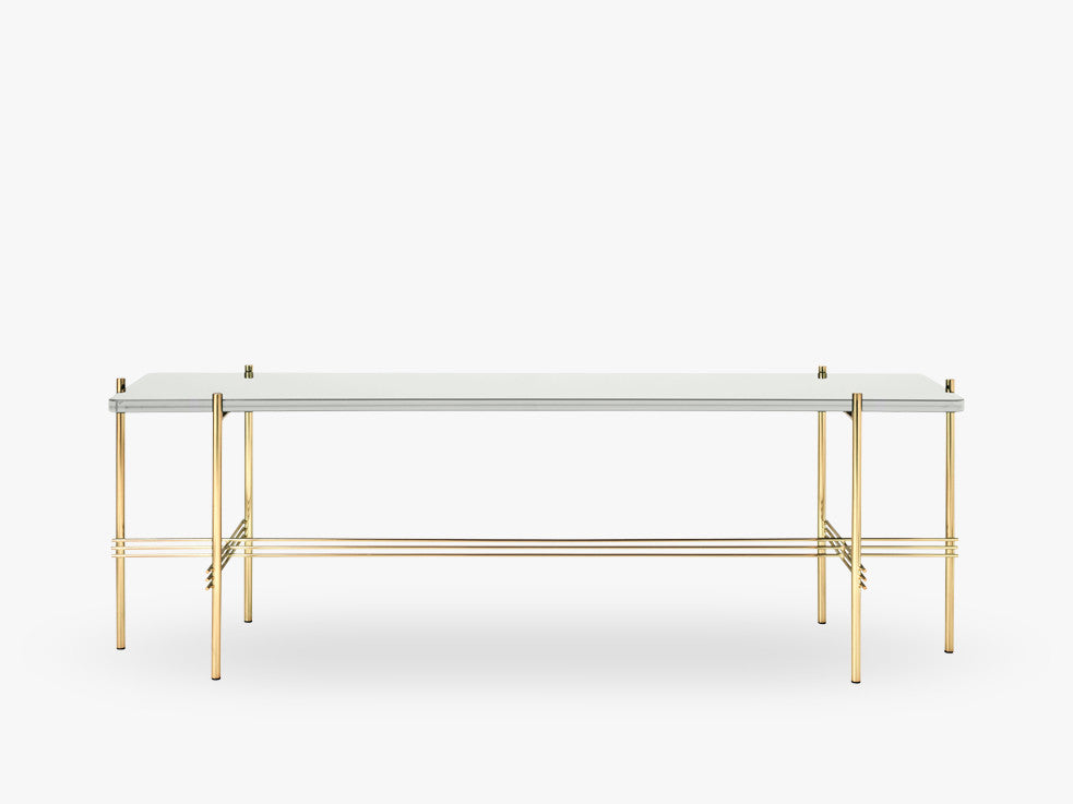 TS Console - 1 rack Brass base, glass oyster white top fra GUBI