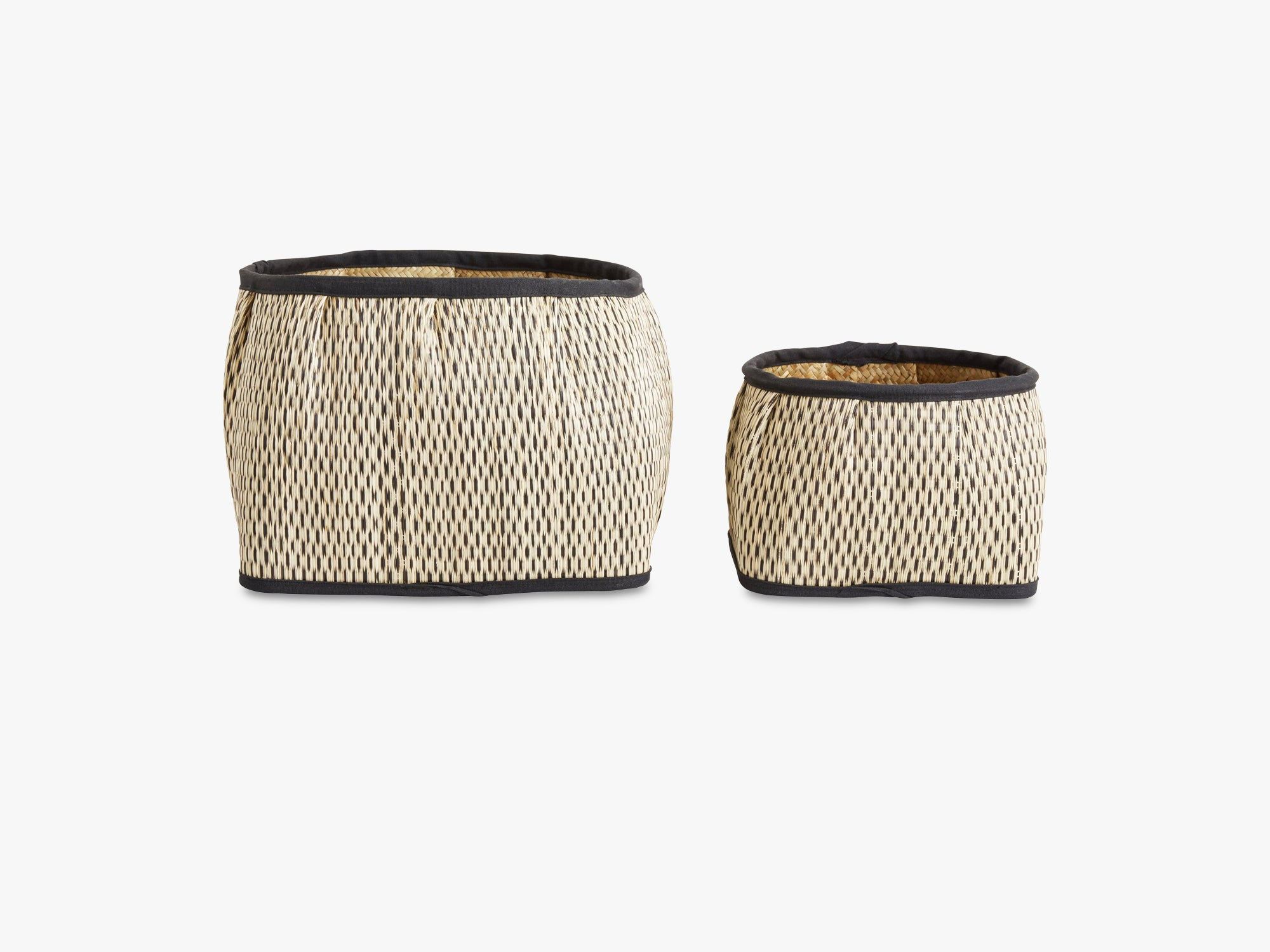 Pattern square basket, natural/black set fra Nordal