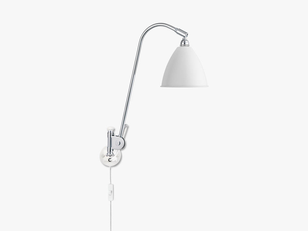 Bestlite BL6 Wall Lamp - Ø16 - Crome Base, Matt White fra GUBI