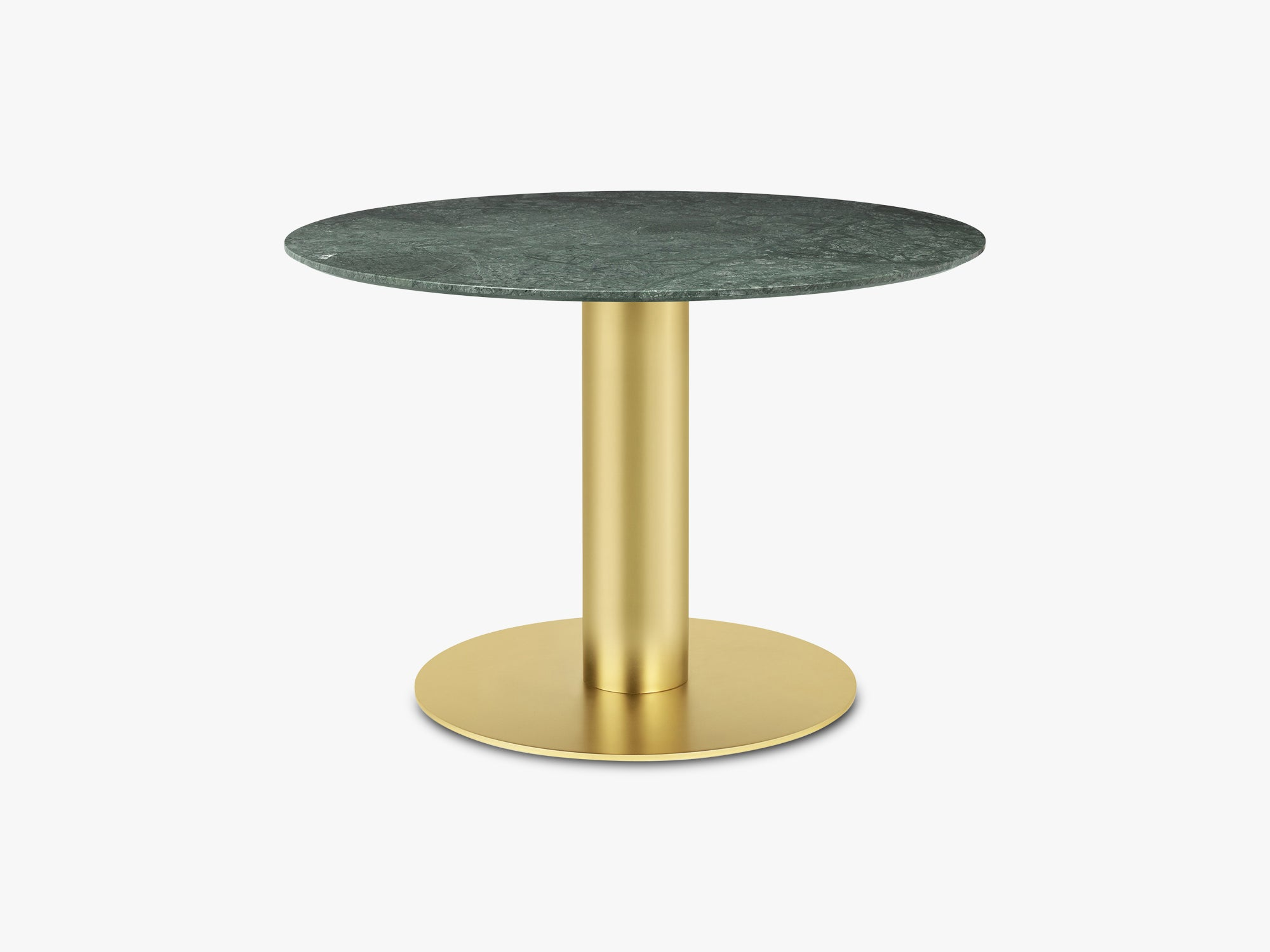 GUBI 2.0 Dining Table - Round - Ø110 - Brass base, Marble Green top fra GUBI