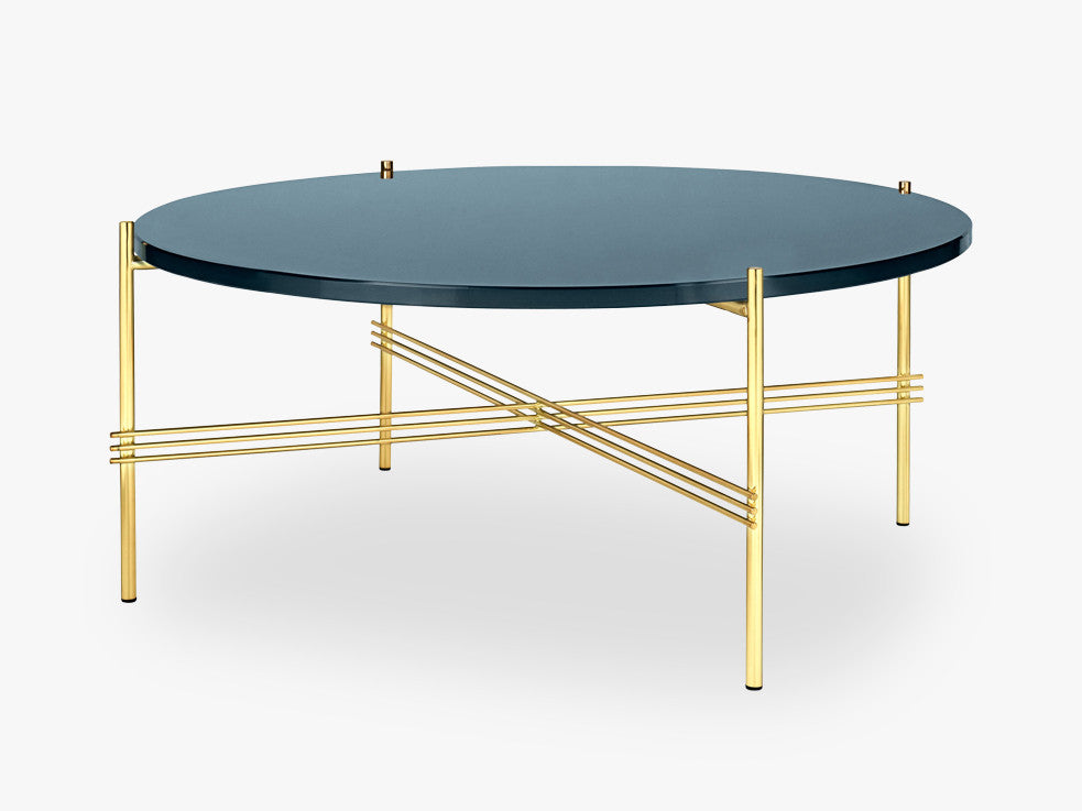 TS Coffee Table - Dia 80 Brass base, glass grey blue top fra GUBI